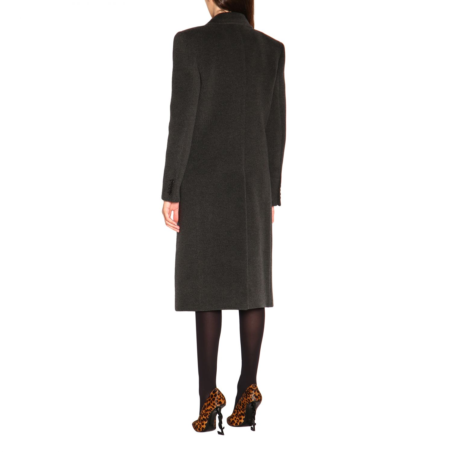 Coat women Saint Laurent charcoal 2