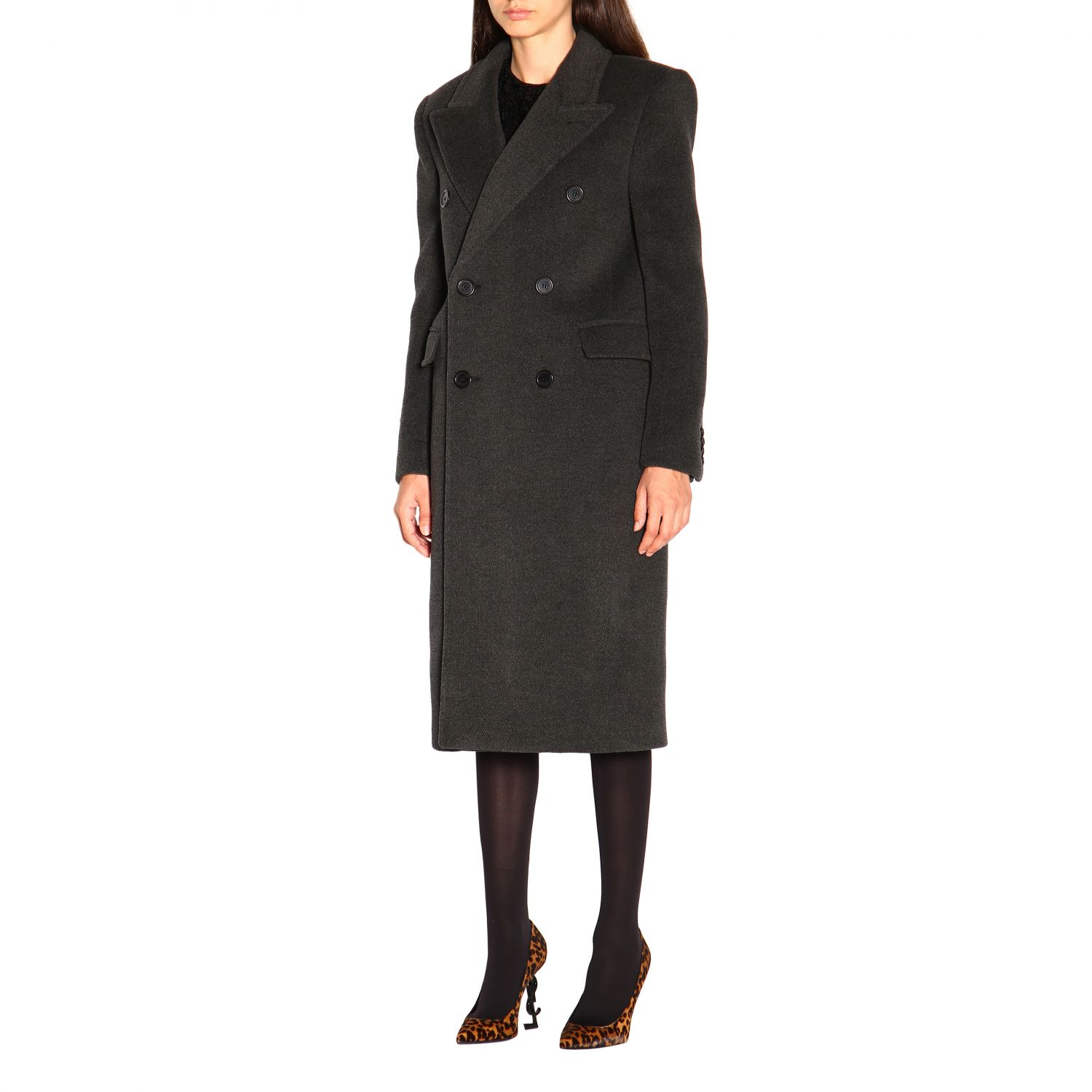 Coat women Saint Laurent charcoal 3