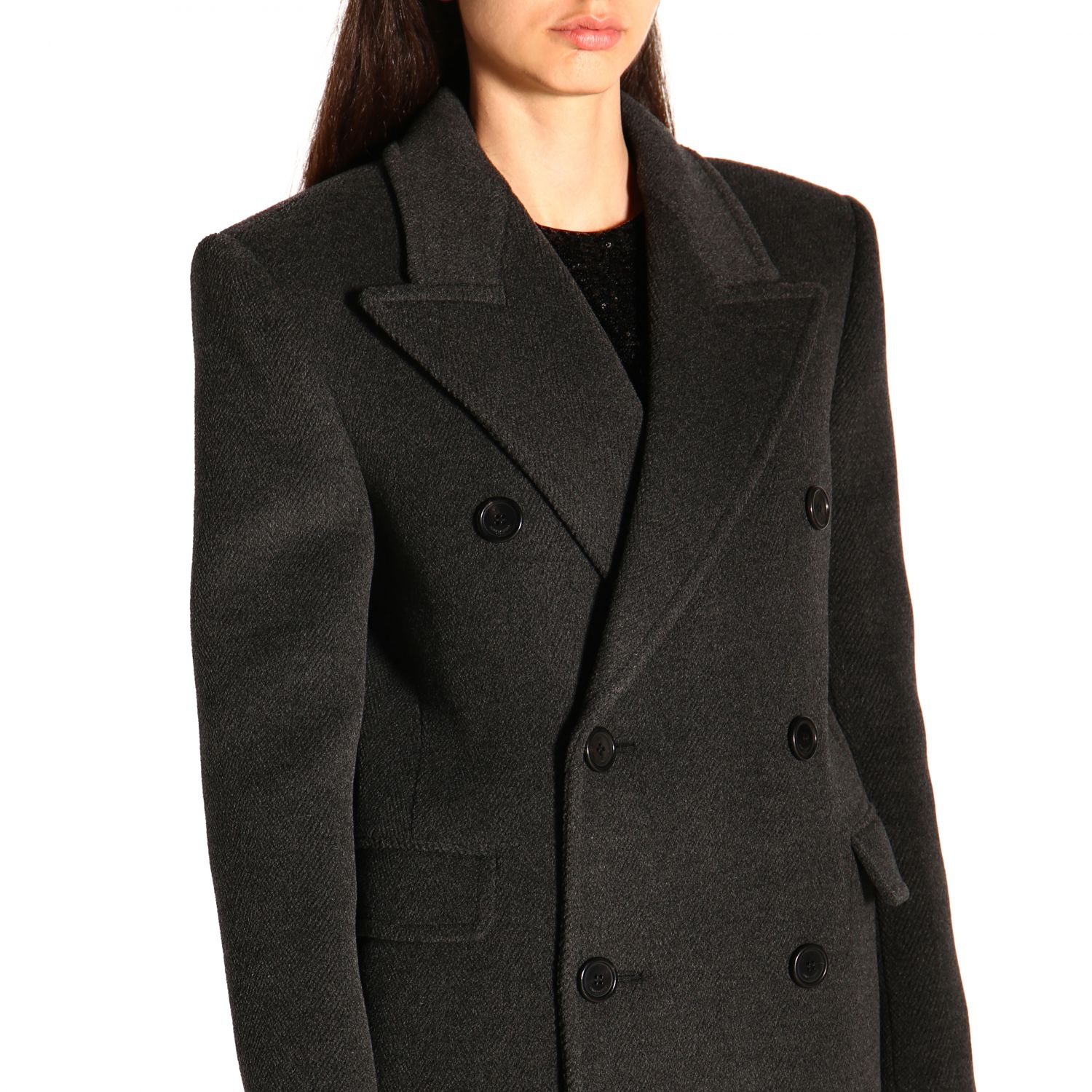 Coat women Saint Laurent charcoal 4
