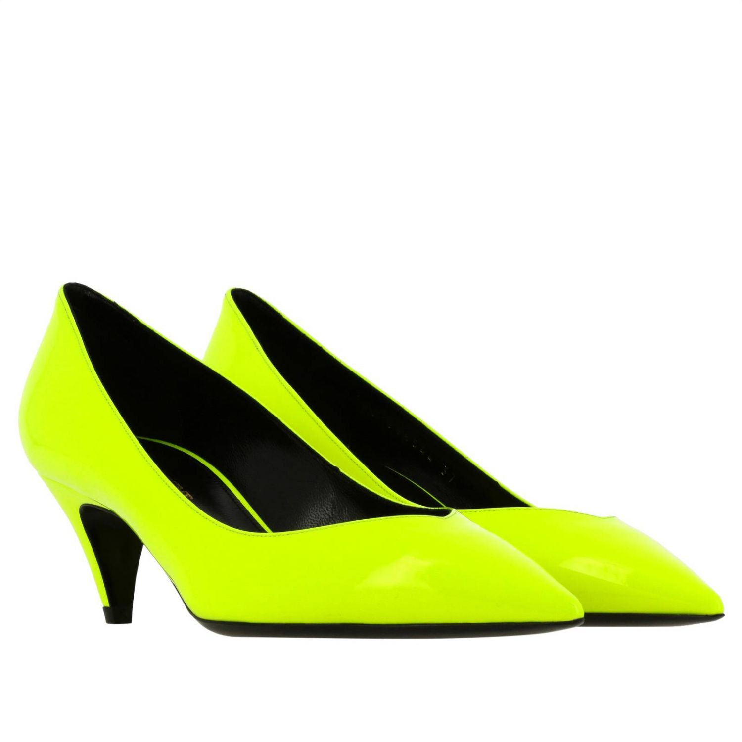 Kiki pointed toe in fluo paint by Saint Laurent yellow 2