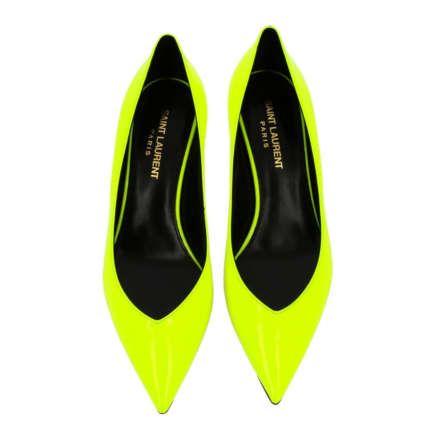 Kiki pointed toe in fluo paint by Saint Laurent yellow 3