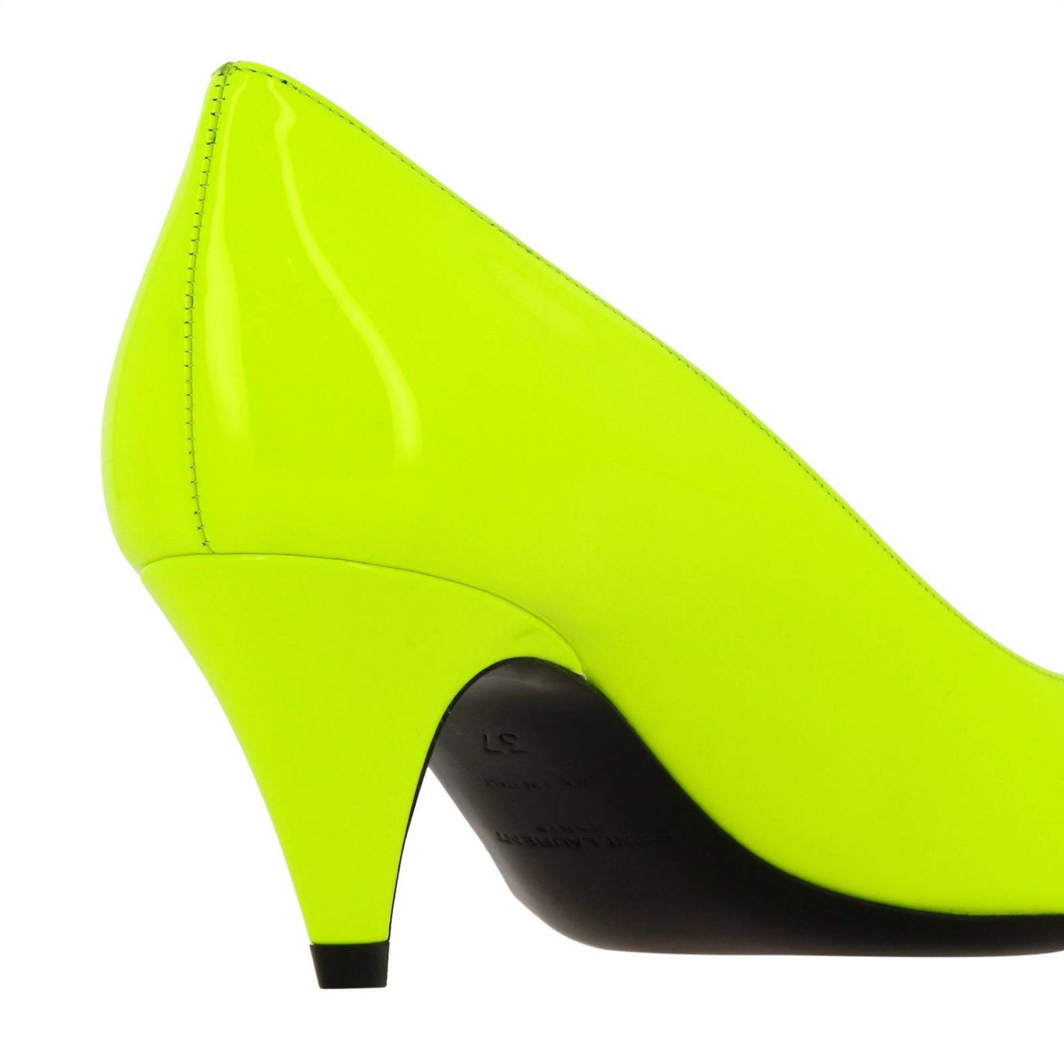 Kiki pointed toe in fluo paint by Saint Laurent yellow 5