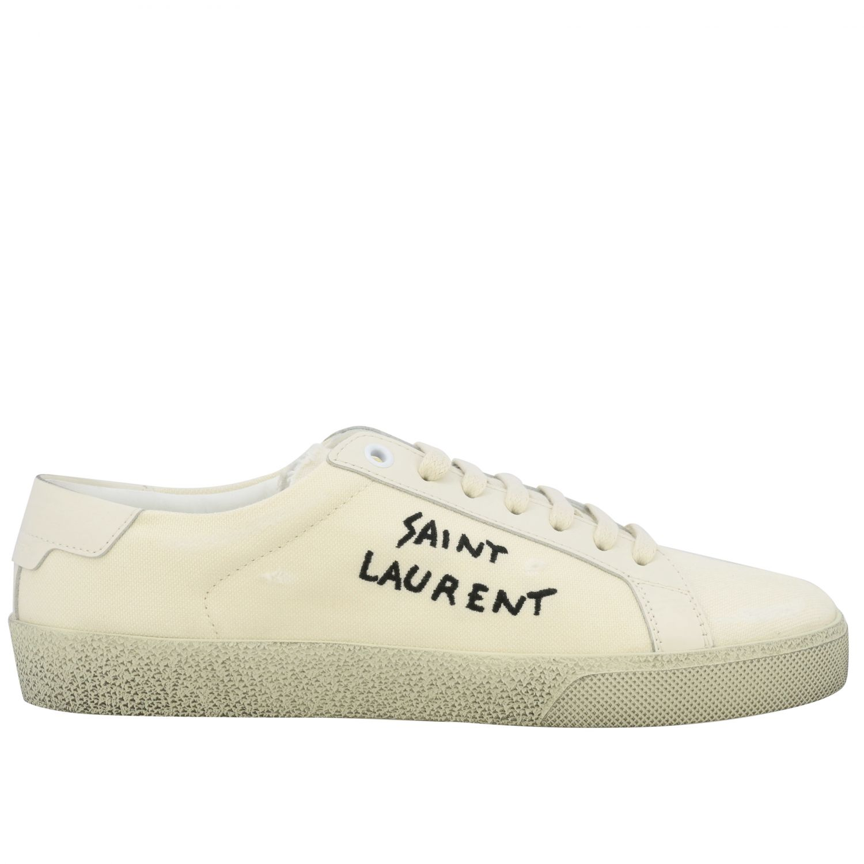 Sneakers aus Segeltuch mit Saint Laurent Schriftzug weiß 1