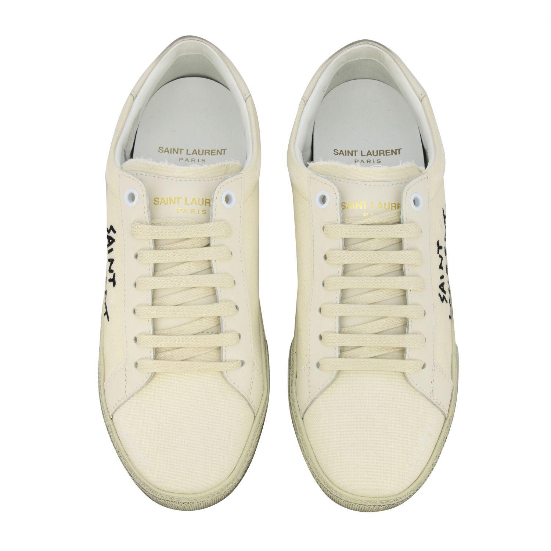 Sneakers aus Segeltuch mit Saint Laurent Schriftzug weiß 3