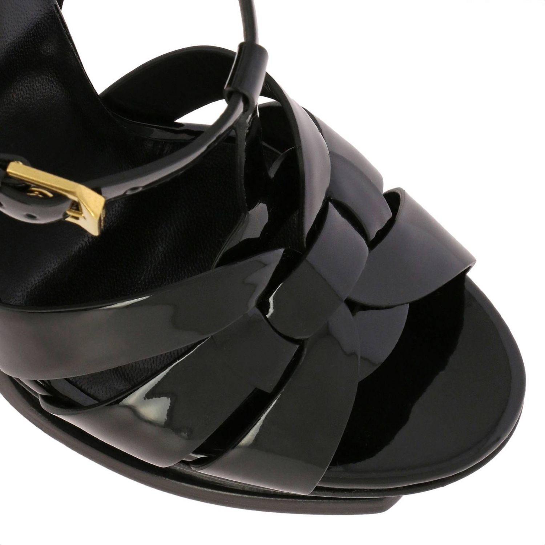Sandales Tribute Saint Laurent en cuir verni noir 4