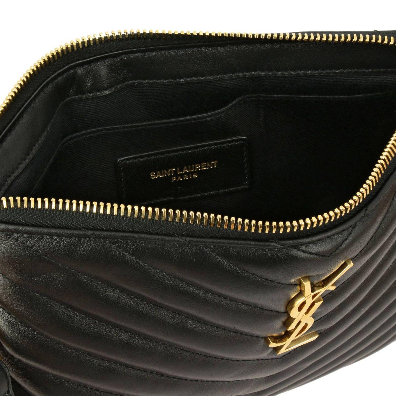 Pochette Monogram in pelle trapuntata con logo YSL Saint Laurent nero 5