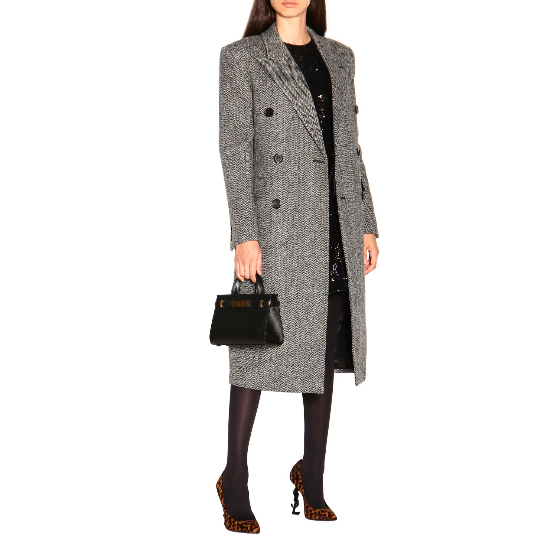 Mini Sac en cuir Manhattan Saint Laurent avec crochet en métal noir 2