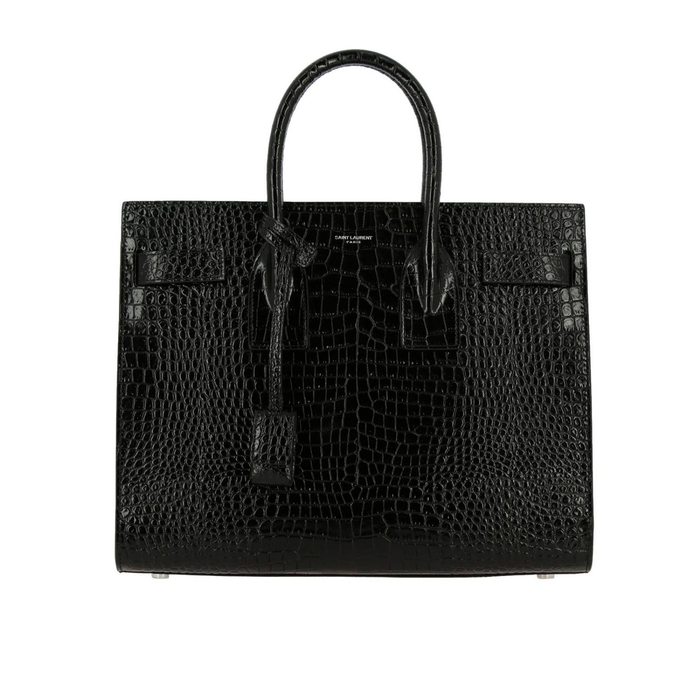 Sac De Jour Saint Laurent en cuir impression crocodile avec bandoulière amovible noir 1