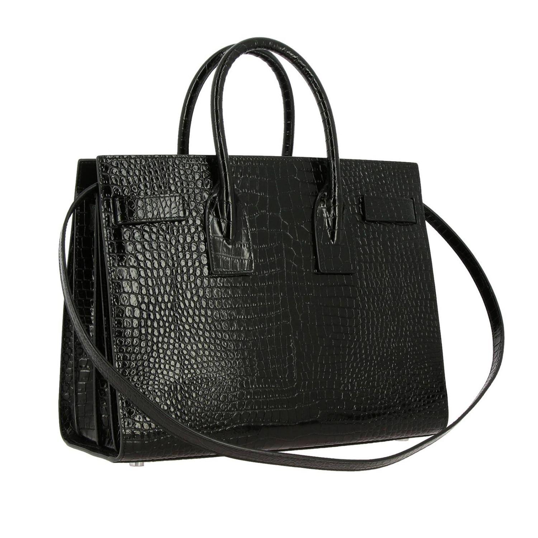 Sac De Jour Saint Laurent en cuir impression crocodile avec bandoulière amovible noir 3