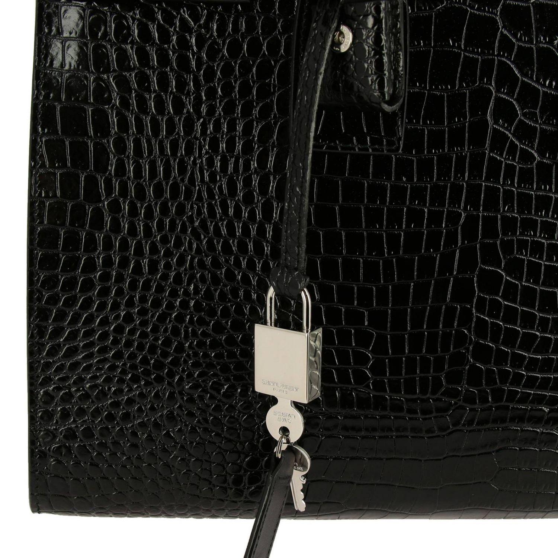 Sac De Jour Saint Laurent en cuir impression crocodile avec bandoulière amovible noir 4