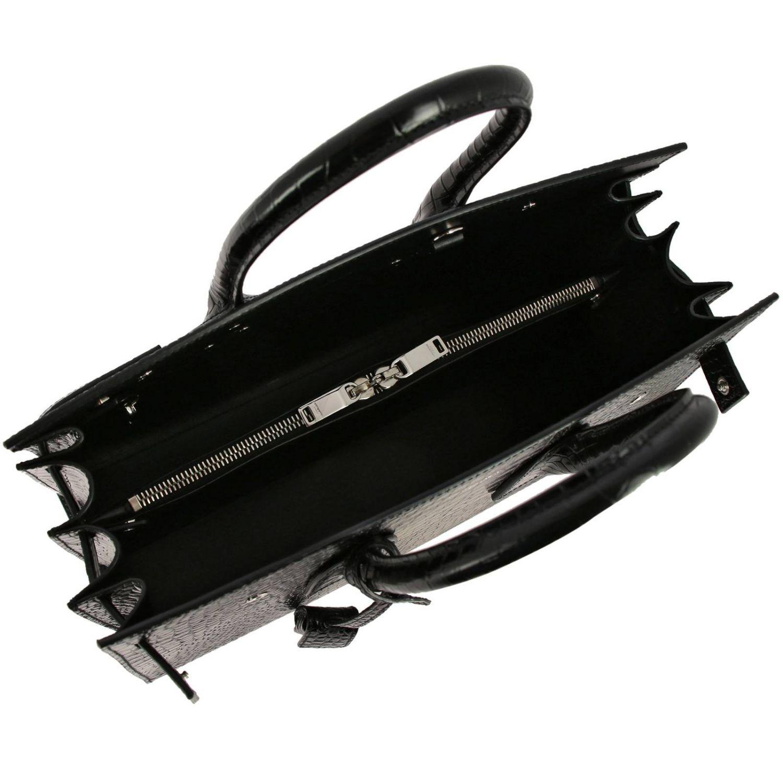 Borsa Sac De Jour Saint Laurent in pelle stampa cocco con tracolla amovibile nero 5