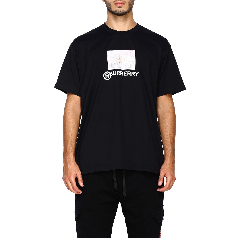 T-shirt Burberry: T-shirt Adson a girocollo con maxi stampa passaporto Burberry nero 1