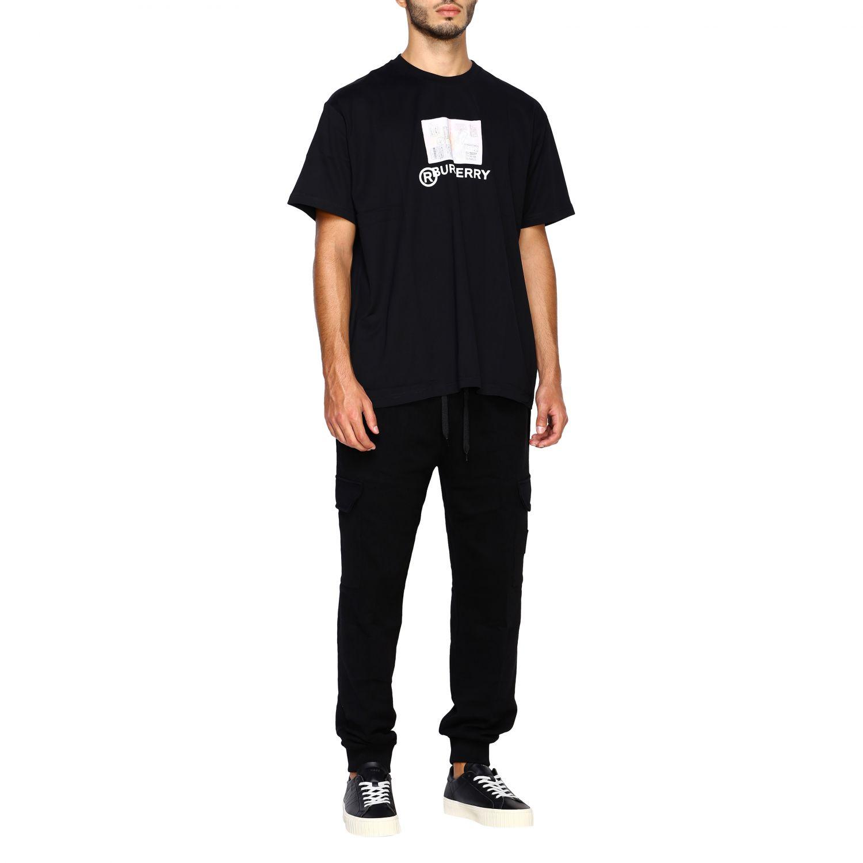 T-shirt Burberry: T-shirt Adson a girocollo con maxi stampa passaporto Burberry nero 2
