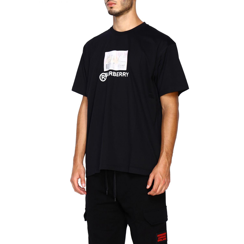 T-shirt Burberry: T-shirt Adson a girocollo con maxi stampa passaporto Burberry nero 4