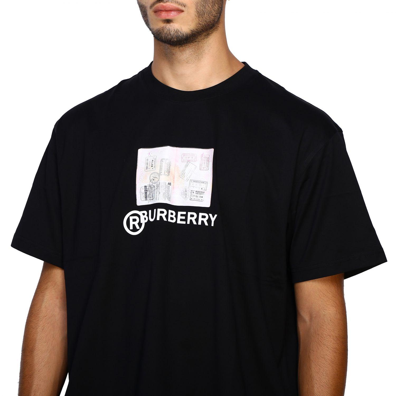 T-shirt Burberry: T-shirt Adson a girocollo con maxi stampa passaporto Burberry nero 5