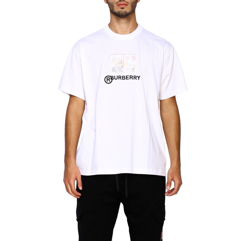 T-shirt Burberry: T-shirt Adson a girocollo con maxi stampa passaporto Burberry bianco 1