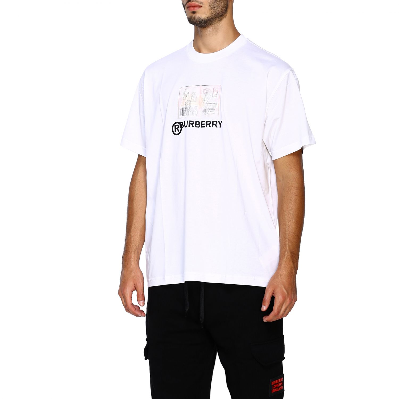 T-shirt Burberry: T-shirt Adson a girocollo con maxi stampa passaporto Burberry bianco 4
