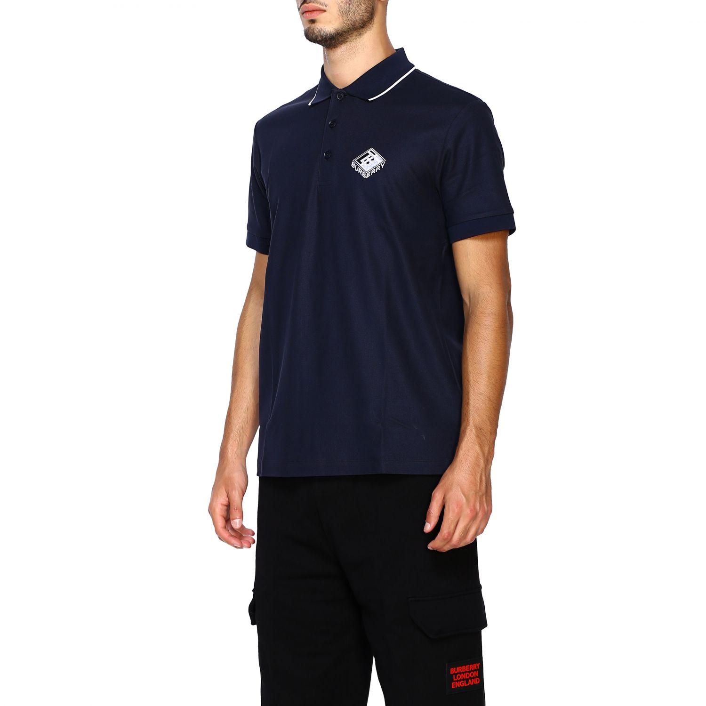 T-shirt Burberry: Polo Aiden a maniche corte con ricamo logo diamon tb blue 4