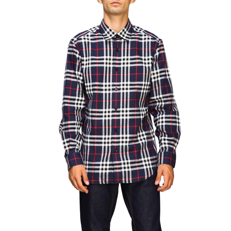 Рубашка Burberry: Рубашка Chambers в клетку Burberry синий 1