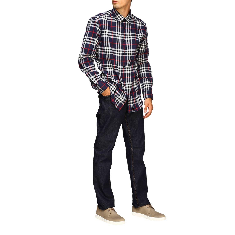Рубашка Burberry: Рубашка Chambers в клетку Burberry синий 2