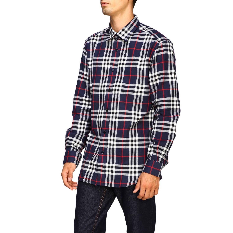 Рубашка Burberry: Рубашка Chambers в клетку Burberry синий 4
