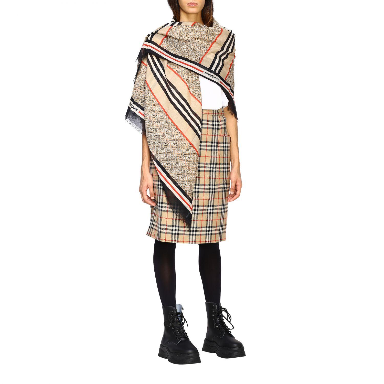Sciarpa Burberry in seta e lana con logo tb beige 2