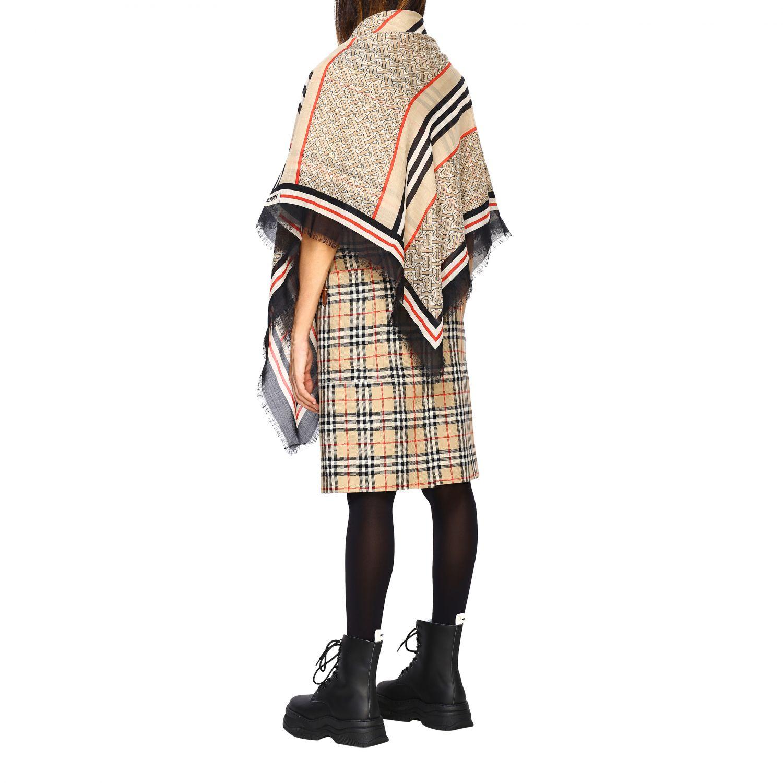 Sciarpa Burberry in seta e lana con logo tb beige 3