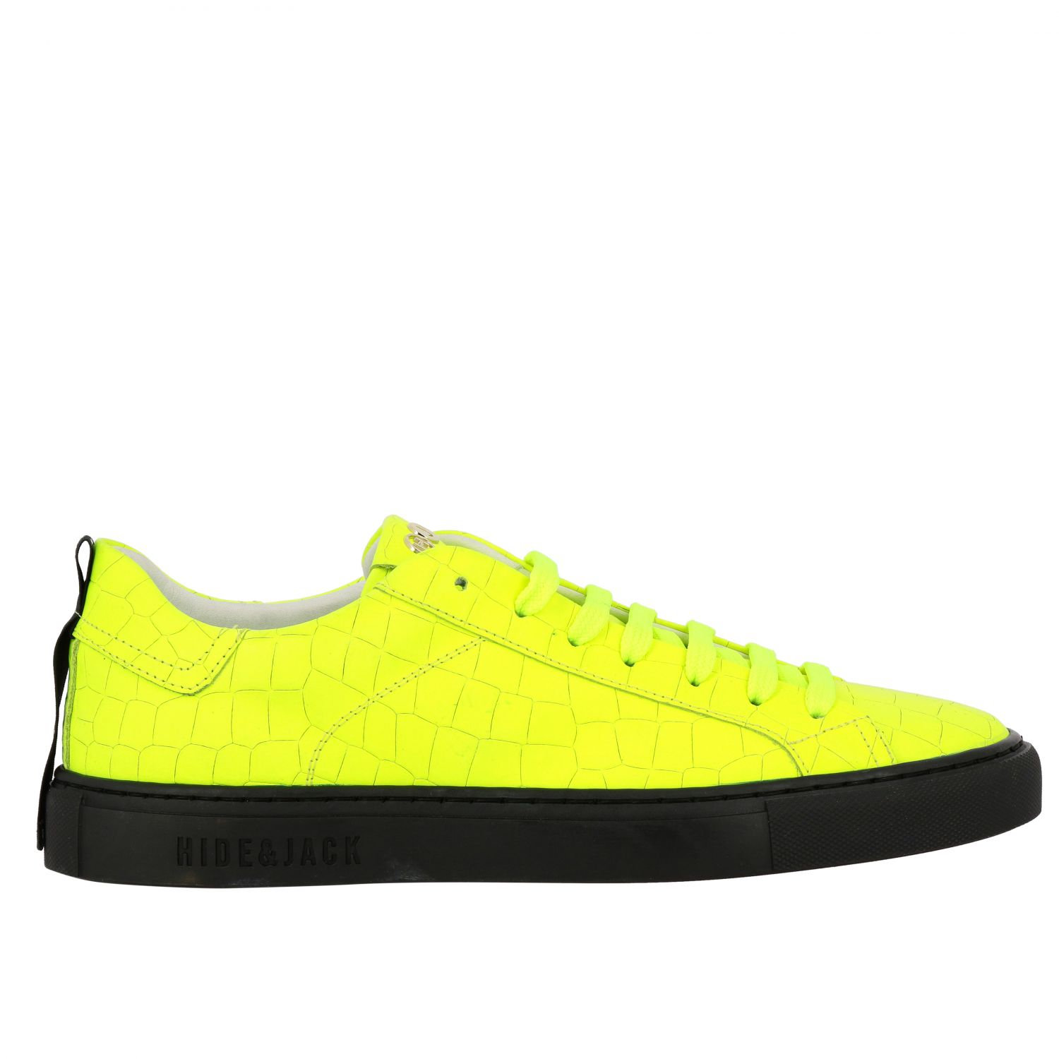 Sneakers pelle stampa cocco fluo giallo 1