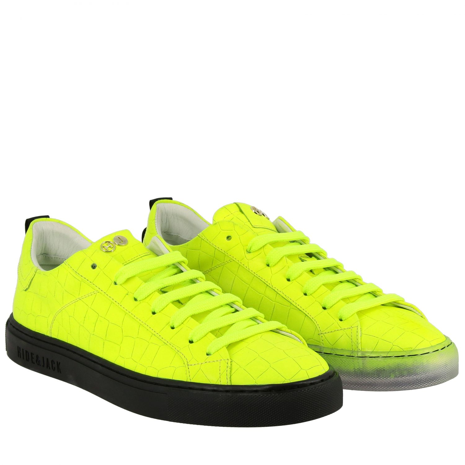 Sneakers pelle stampa cocco fluo giallo 2