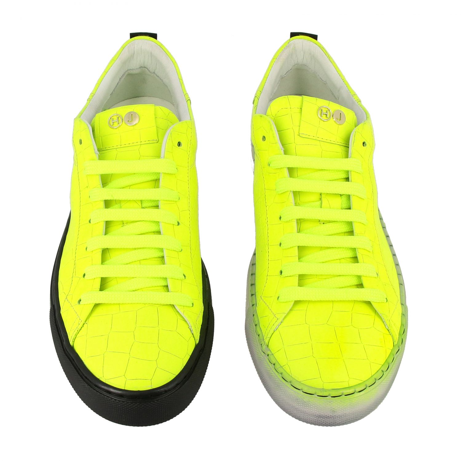 Sneakers pelle stampa cocco fluo giallo 3