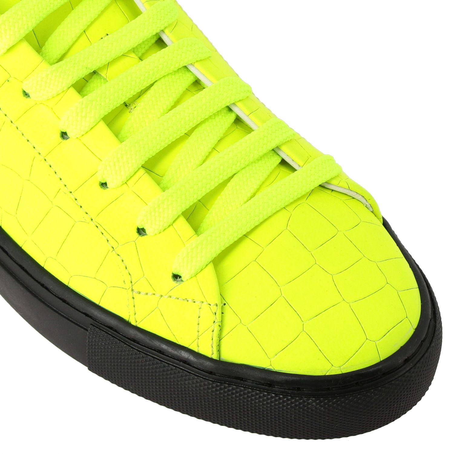 Sneakers pelle stampa cocco fluo giallo 4