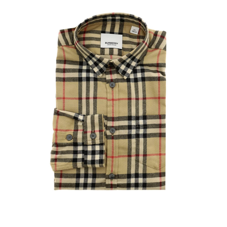 Camicia classic check Burberry a maniche lunghe di flanella beige 1