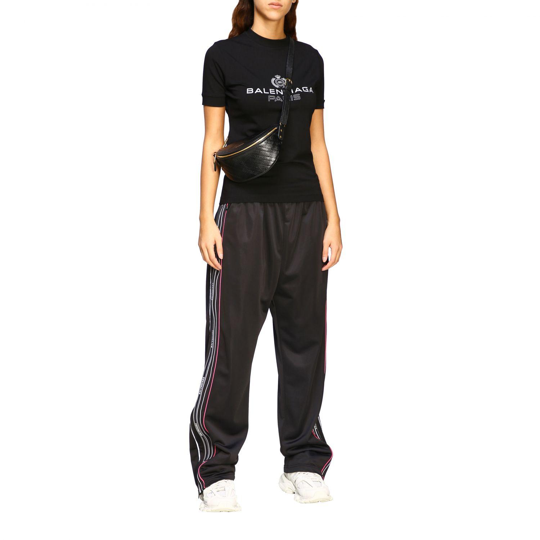 T-shirt Balenciaga a girocollo slim in jersey di cotone stretch con maxi logo nero 2