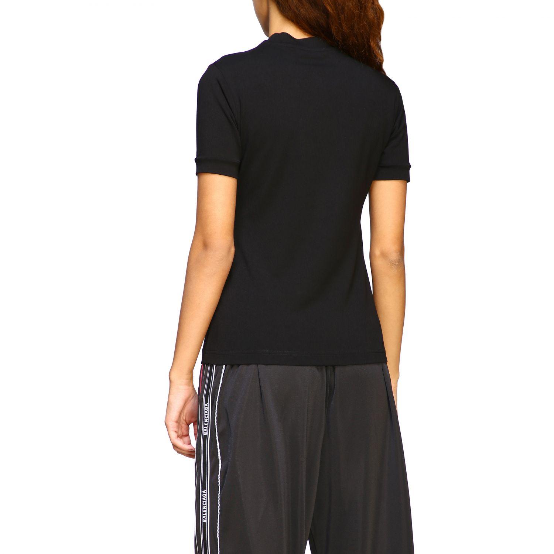T-shirt Balenciaga a girocollo slim in jersey di cotone stretch con maxi logo nero 3