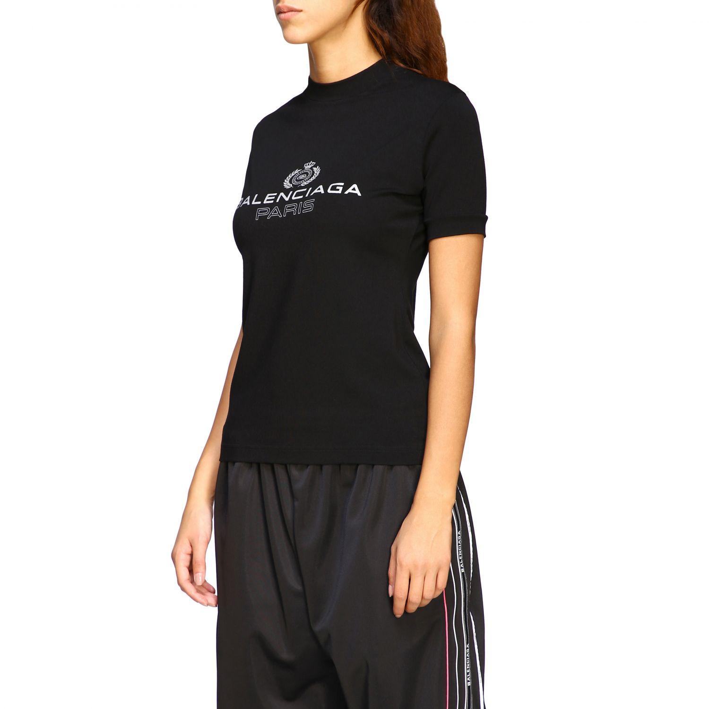 T-shirt Balenciaga a girocollo slim in jersey di cotone stretch con maxi logo nero 4