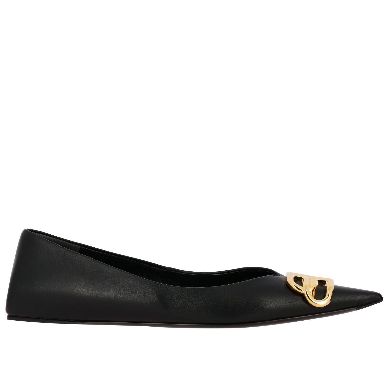 芭蕾平底鞋 Balenciaga: Balenciaga BB尖头真皮芭蕾舞鞋 黑色 1