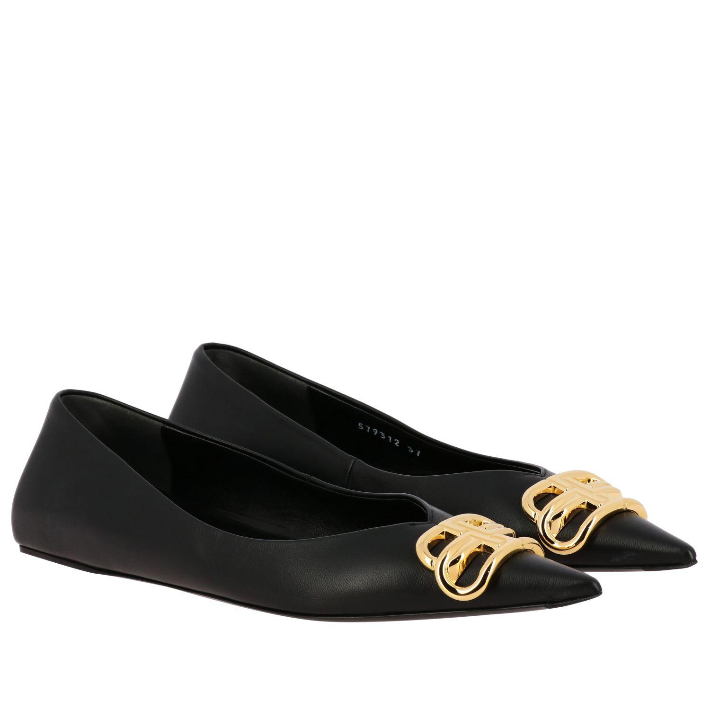 芭蕾平底鞋 Balenciaga: Balenciaga BB尖头真皮芭蕾舞鞋 黑色 2
