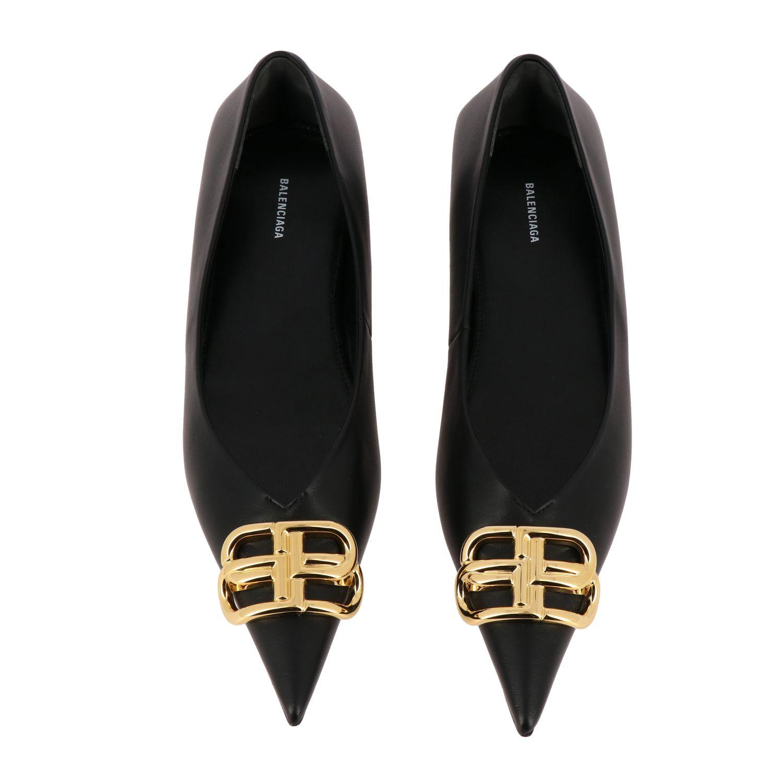 芭蕾平底鞋 Balenciaga: Balenciaga BB尖头真皮芭蕾舞鞋 黑色 3