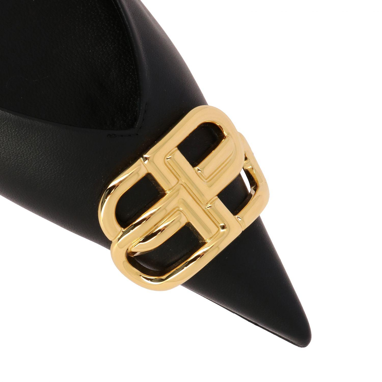 芭蕾平底鞋 Balenciaga: Balenciaga BB尖头真皮芭蕾舞鞋 黑色 4