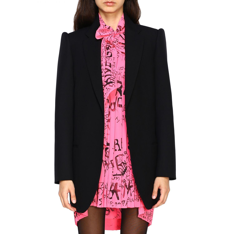 Giacca Balenciaga a monopetto in lana doppiata nero 1