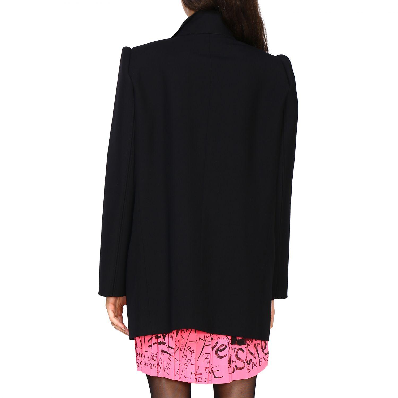 Giacca Balenciaga a monopetto in lana doppiata nero 3