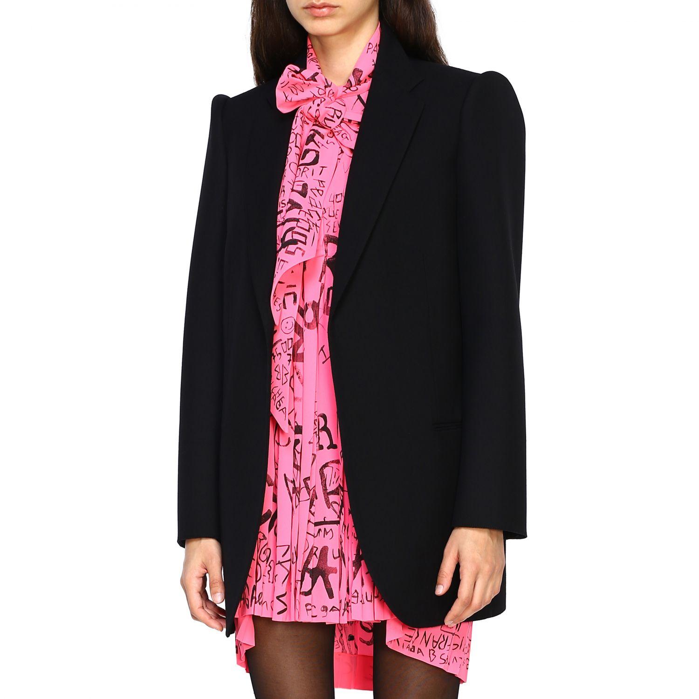 Giacca Balenciaga a monopetto in lana doppiata nero 4