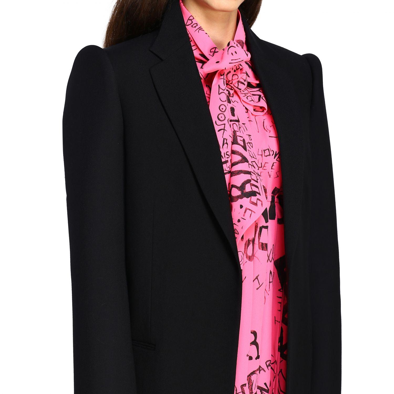 Giacca Balenciaga a monopetto in lana doppiata nero 5