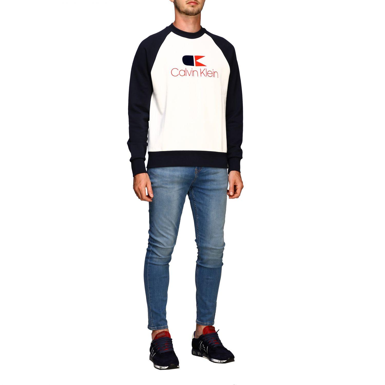 Sweater Calvin Klein: Calvin Klein sweatshirt with crew neck with vintage logo white 2