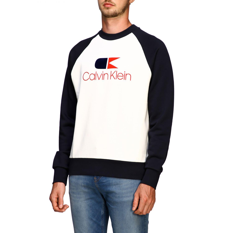 Sweater Calvin Klein: Calvin Klein sweatshirt with crew neck with vintage logo white 4