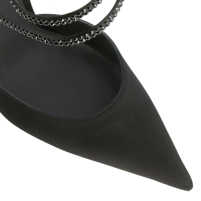Sandalo Rene Caovilla in raso con strass nero 4
