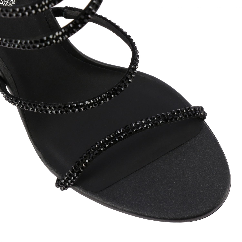 Sandalo raso tacco 105 snake strass nero 4