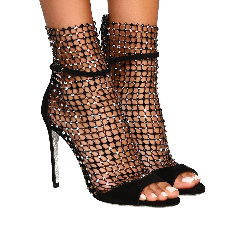Rene Caovilla Galaxia 绒面革水钻鞋面凉鞋 黑色 2