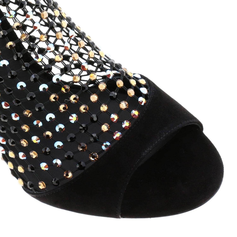 Rene Caovilla Galaxia 绒面革水钻鞋面凉鞋 黑色 3