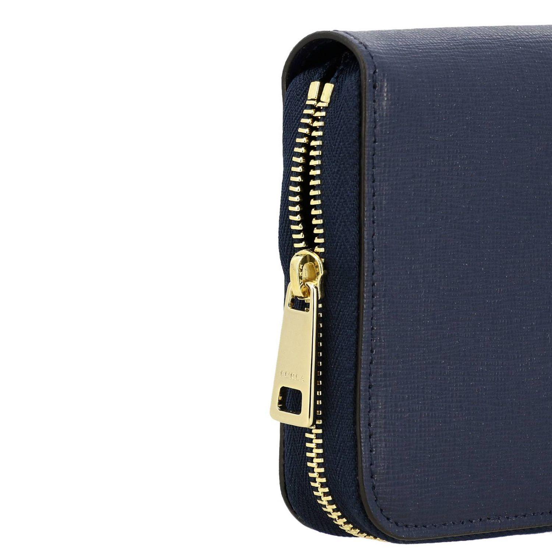 Portafoglio Babylon XL zip around in pelle con logo Furla blue 3
